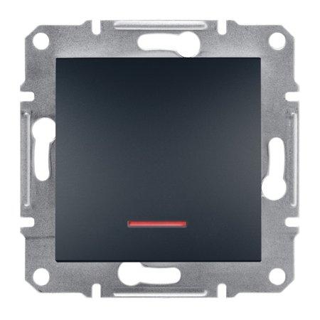 Vypínač 1-pólový s podsvícením šroubové svorky bez rámečku, antr Schneider Electric Asfora EPH1400371