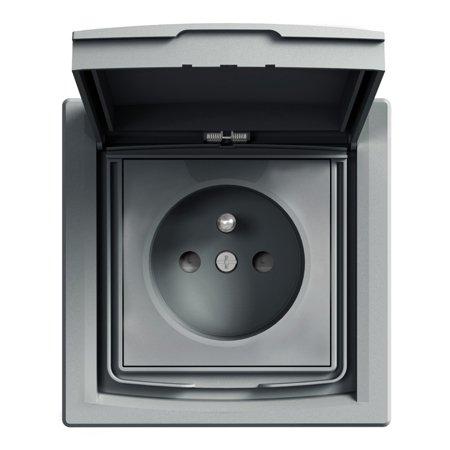Zásuvka 2P+PE IP44 s rámečkem 1-násobná s clonami, ocel Schneider Electric Asfora EPH2800362