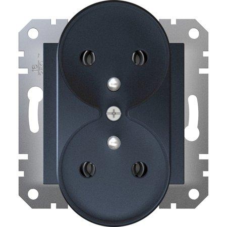 Zásuvka 2x2P+PE do rámečkového systému, antracit Schneider Electric Asfora EPH9810271