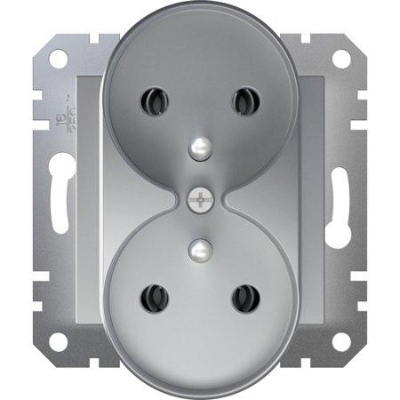 Zásuvka 2x2P+PE do rámečkového systému, hliník Schneider Electric Asfora EPH9810261