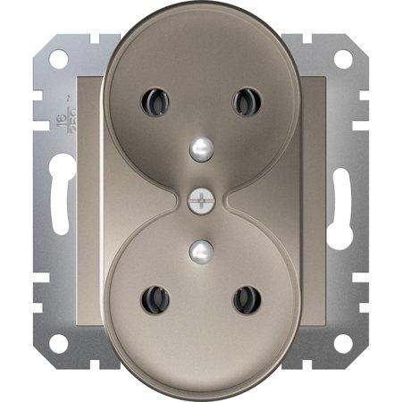 Zásuvka 2x2P+PE do rámečkového systému, hnědá Schneider Electric Asfora EPH9810269
