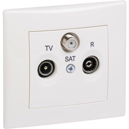 Zásuvka R/TV/SAT koncová krémová s rámečkem Sedna SDN3501523 Schneider Electric