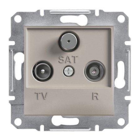 Zásuvka R-TV-SAT průchozí (4dB) bez rámečku, hnědá Schneider Electric Asfora EPH3500269
