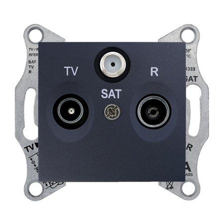 Zásuvka R/TV/SAT průchozí 4dB, grafitová Sedna SDN3501470 Schneider Electric