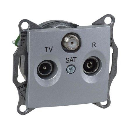 Zásuvka R/TV/SAT průchozí 4dB hliníkminum Sedna SDN3501460 Schneider Electric
