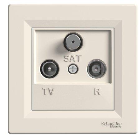 Zásuvka R-TV-SAT průchozí (4dB) s rámečkem, krémová Schneider Electric Asfora EPH3500223