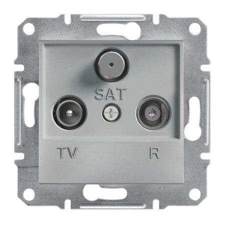 Zásuvka R-TV-SAT průchozí (8dB) bez rámečku, hliník Schneider Electric Asfora EPH3500361