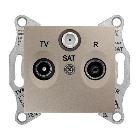 Zásuvka R/TV/SAT průchozí 8dB saténová Sedna SDN3501268 Schneider Electric