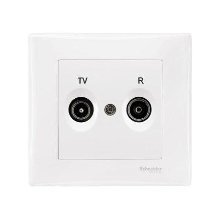 Zásuvka R/TV koncová bílá s rámečkem Sedna SDN3301721 Schneider Electric
