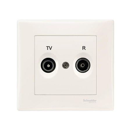Zásuvka R/TV koncová krémová s rámečkem Sedna SDN3301723 Schneider Electric