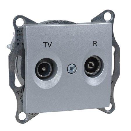 Zásuvka R/TV průchozí hliník Sedna SDN3301860 Schneider Electric