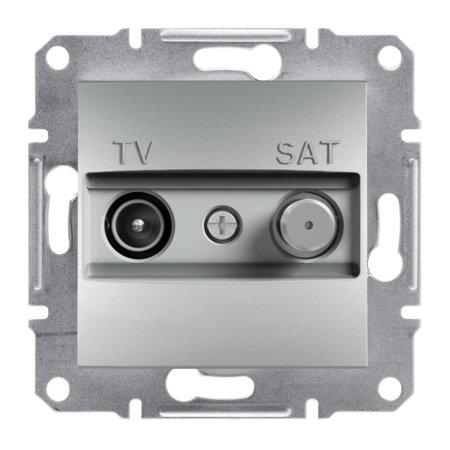 Zásuvka TV-SAT průchozí (4dB) bez rámečku, hliník Schneider Electric Asfora EPH3400261