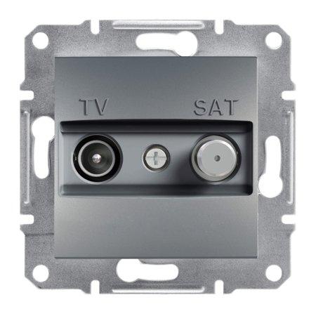 Zásuvka TV-SAT průchozí (4dB) bez rámečku, ocel Schneider Electric Asfora EPH3400262