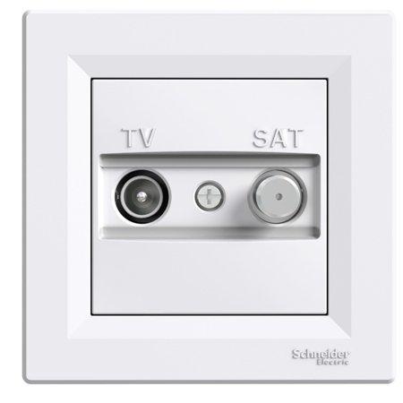 Zásuvka TV-SAT průchozí (4dB) s rámečkem, bílá Schneider Electric Asfora EPH3400221