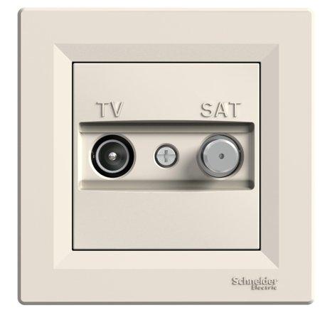 Zásuvka TV-SAT průchozí (8dB) s rámečkem, krémová Schneider Electric Asfora EPH3400323