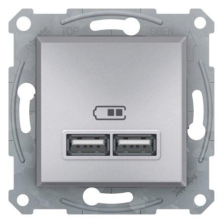 Zásuvka nabíječky USB 2.1A bez rámečku, hliník mini Schneider Electric Asfora EPH2700261