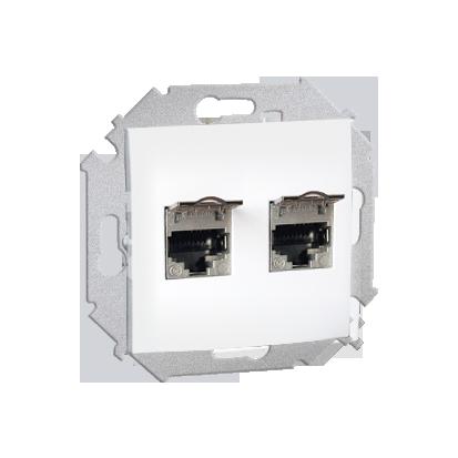Zásuvka počítačová RJ45 dvojitá stíněné kat. 5e se zaklapávací krytkou, bílá Kontakt Simon 1591554-030