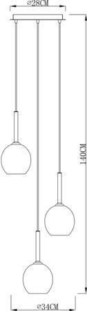 Závěsná lampa chrom tři kouleZuma Line Monic Pendant MD1629-3B