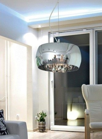 Závěsná lampa stříbrná transparentní 28cm Zuma Line Crystal Pendant P0076-03E-F4FZ